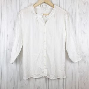 ERI + ARI ANTHROPOLOGIE White 3/4 Sleeve Blouse